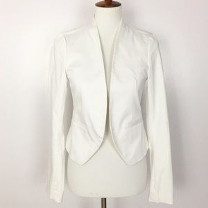 LOFT Open Stretch Pleated Back Collarless Blazer